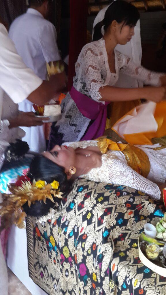 Preparing for filing of the teeth - Potong Gigi Ceremony